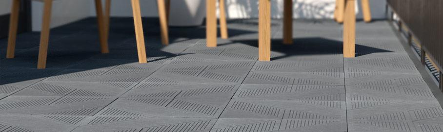 Pavimento de terraza con diseño