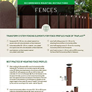 MOUNTING INSTRUCTIONS FOR FENCES